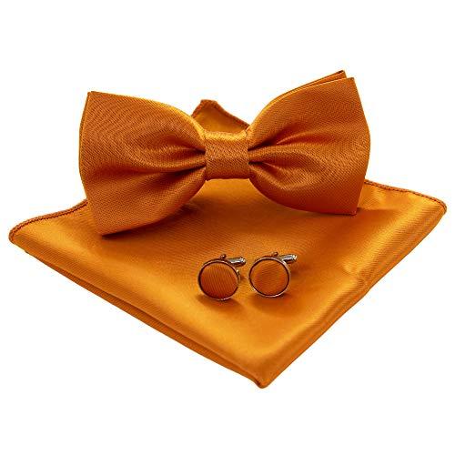 JEMYGINS Fliege Herren Orange Satin Zweifach Gefaltet und Einstecktuch mit Manschettenknöpfe Sets(8)