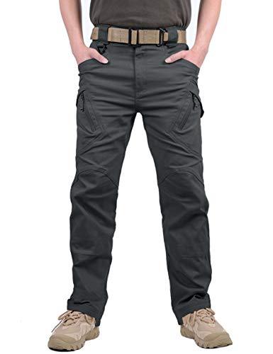 MAGCOMSEN Herren Draussen Dauerhaft Multi Taschen Entspannt-Fit Taktisch Cargohosen Arbeitshose, Grau, 34