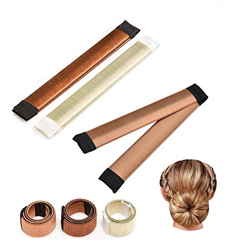 Ealicere 3 Stück Donut Hair Bun Maker, Magic Twist Donut French Band für Damen DIY Hairstyle Tools (Braun, Champagne und Gold)