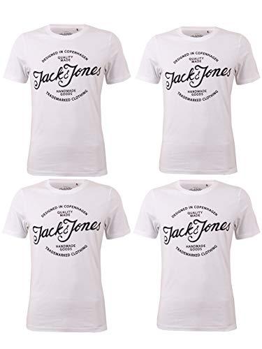 Jack & Jones JJEJAFFAR - Camiseta de manga corta para hombre (4 unidades, cuello redondo, 100% algodón, tallas S, M, L, XL, XXL)