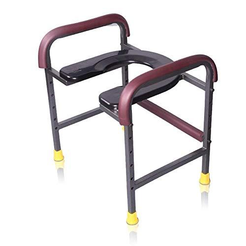 GWFVA Mobiele toiletstoelen, U-type met leuningen kleur roest grootte anti-slip 30-50cm dik staal Oude man Zwangere badkamer schaal