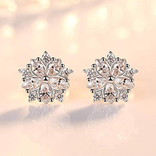 N-B Elegant Flower Shaped Earrings Women's Girls Fashion Crystal Earrings Simple Jewelry S