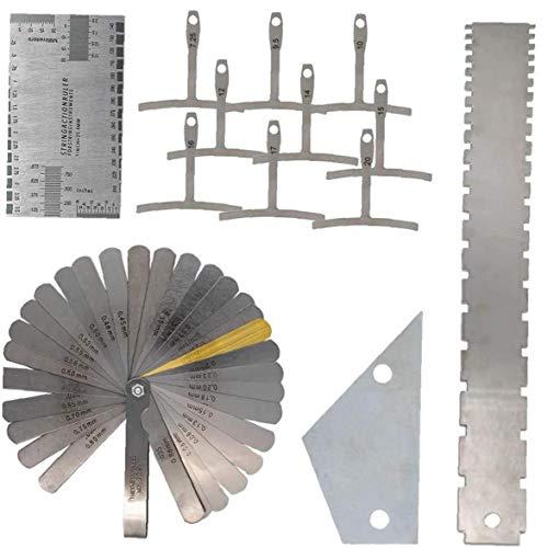 Gitarren-Gitarrenbauer-Messwerkzeuge-Set, Gitarrenhals, gerader Rand, Bundwippe, Saitenhöhe, Untersaiten-Radius-Messgerät, 13-teilig