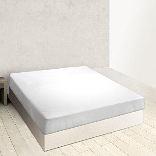 Burrito Blanco Sábana Bajera Ajustable Algodón 100% A8 para Cama Individual de 80x190 hasta 80x200 cm (Más Medidas Disponibles), Color Blanco