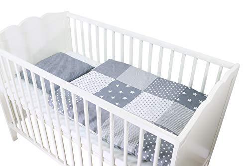 ULLENBOOM ® Babybettwäsche Set Graue Sterne - 2er Baby Bettbezug: Baby Bettwäsche Bezug 80x80 cm & Kissenbezug 35x40 cm, Baby Bettset für Babybett (100% Baumwolle)