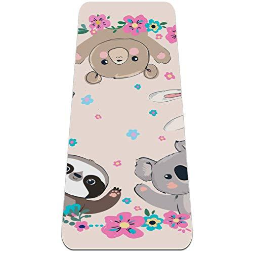Esterilla Yoga Mat Antideslizante Profesional - Oso gato conejo koala perezoso panda - Colchoneta Gruesa para Deportes - Gimnasia Pilates Fitness - Ecológica