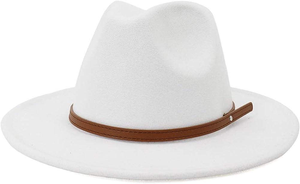Lisianthus Womens Wide Brim Fedora Hat Felt Jazz Cap with Belt Buckle Décor
