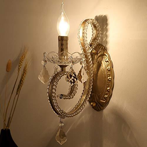 LCLZ Amerikanisches Dorf Jahrgang Schmiedeeisen Doppelwandlampe Wohnzimmer Im Europäischen Stil Schlafzimmer Nacht Kreative Persönlichkeit Crystal Wall Aisle (Color : 1 Light)