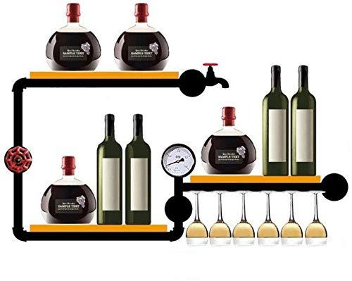 DJSMjbj Botellero de Pared for Botellas de Vino for Copas Elegantes Copas de Madera de Almacenamiento Bodega montado en la Pared de Botella de Vino del sostenedor de Botella de Vino Rack Estante