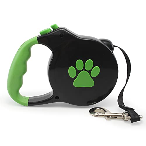 TopQuaFocus 16.4 FT Retractable Dog Leash for Cats Dogs up to 110lbs, 360 Rotate Hook Tangle Free-Black&Green