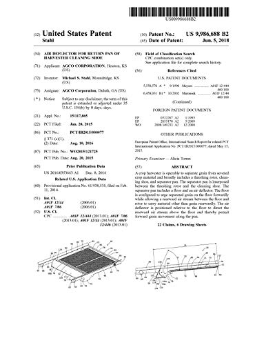 Air deflector for return pan of harvester cleaning shoe: United States Patent 9986688 (English Edition)