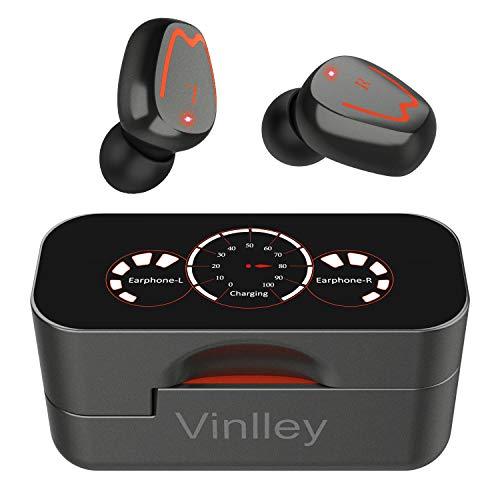 Vinlley Auriculares Inalámbricos Bluetooth Telefono Deportivos 5.0 con Micrófono Gaming IPX7 HiFi Calidad Sonido Estéreo Cascos LED Caja de Carga Diseño Rotativo para Smartphone/PC/PS5-Gris