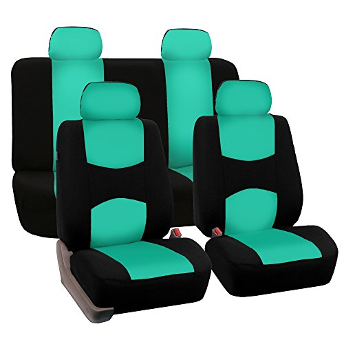 FH Group FB050MINT114 Flat Cloth Full Seat Cover Set (w. 4 Detachable Headrests and Solid Bench), Mint