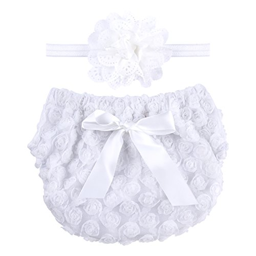 ICObuty Rose Ruffle Bloomer Diaper Cover for Baby Girls Toddlers (0-12m Small, White)