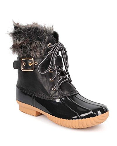 Nature Breeze Duck-01 Women's Chic Lace Up Buckled Duck Waterproof Snow Boots,12 B(M) US,Black