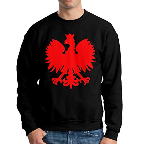Na House Polska Eagle Poland Pride Men's Crew Neck Sweatshirt Long Sleeve Hoodie Black,Large