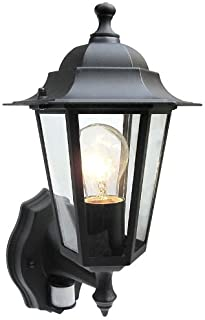 Outdoor 6 Sided Black Wall Lantern Security Light Complete With PIR Motion Sensor Detector IP43 Weatherproof With Lamp
