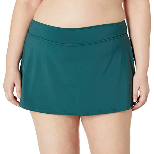 Anne Cole Women's Plus Size Solid Rock Skirted Bikini Swim Bottom, Eucalyptus, 18W