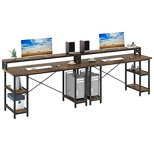 YITAHOME 110 inches Double Desk with Storage Shelves Monitor Stand, Two People Workstation Table Writing Study Work Desk with Bookshelves for Home Office, Rustic Brown