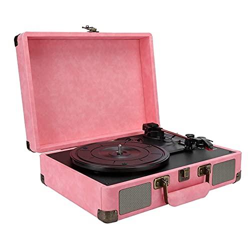 WGHH Lettore Record di Valigia Bluetooth, Portatile Phonograph Retro Giradischi Giradischi in Vinile con Altoparlante Stereo, 33/45/78 RPM 3- velocità LP. Giocatore del Disco