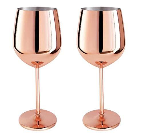 edelstahl Weingläser Rotweingläser Weinkelch Edelstahl Rotweinglas Champagner Kelch Becher Trinkbecher 500ml 2er set Rotweingläser für Wein camping geschen (Roségold)