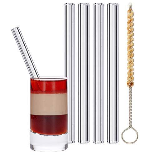 stråwline EINFÜHRUNGSANGEBOT Glas-Strohhalme 4 Stück 10 cm, wiederverwertbar + Reinigungsbürste (vegan) aus Agave - ideal für Cocktails, Longdrinks & Säfte