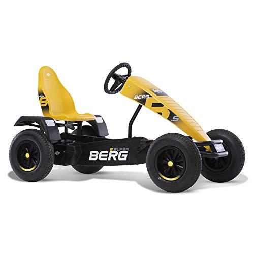 BERG Kart con marco XL B. Super Yellow   Vehículo infantil, coche a pedales con asiento ajustable, con rueda libre, juguete para niños adecuado para niños a partir de 5 años