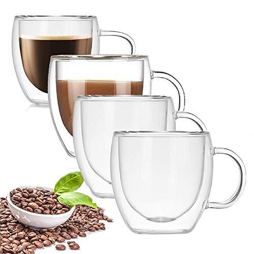 æ— Tazas de café de cristal con asa, 150 ml, de doble pared, tazas de café con aislamiento de vidrio para té, café, helados