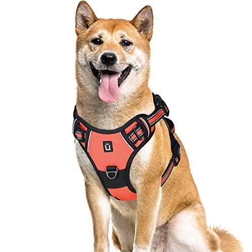 Arnés para perro sin tirón,clip frontal para mascotas arnés con 4 hebillas,reflectante ajustable acolchado suave para mascotas, mango de fácil control para perros pequeños,medianos y grandes