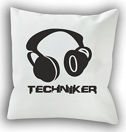 Loose Werbetechnik Tontechniker - DJ - Kopfhörer - 40 x 40 cm - Dekokissen - Kissen - Sofakissen