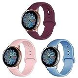 Band4u 20mm Correa Compatible con Samsung Galaxy Watch Active 2 40mm 44mm, Galaxy Watch 3 41mm, Galaxy Watch 4/Galaxy Watch 4 Classic, 3 Piezas de Correa de Silicona Suave de Repuesto