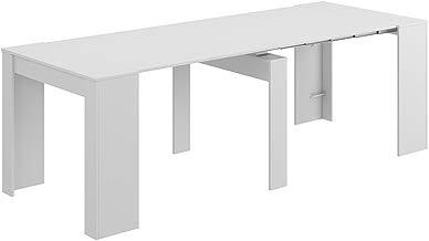 Habitdesign 004580BO - Mesa de comedor consola extensible hasta 235 cm, acabado en color Blanco Brillo