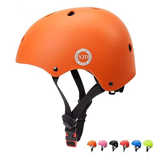 XJD Casco de Ciclismo para Niños Ajustable y Resiste al Impacto Ventilación con Muchos Colores -para Multideportivo Patineta Bicicleta Rollerskate Ciclismo (Naranja, M)