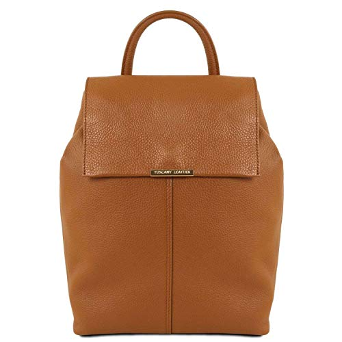 TUSCANY LEATHER - TL Bag - Dames rugzak gemaakt van zacht leer - Cognac (TL141706)