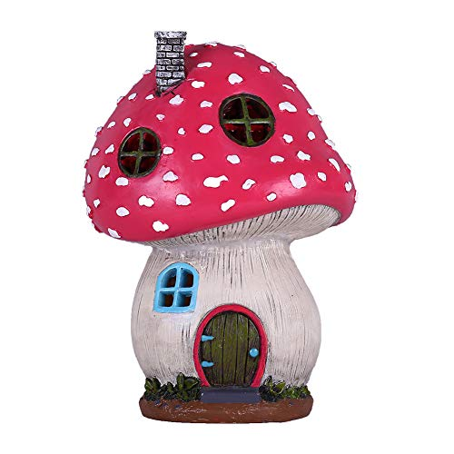 TERESA'S COLLECTIONS Mushroom Fairy Garden House Statue Accessories with Solar Light, Fairy Garden Cottage Figurines Sculptures for Outdoor Fall Patio Lawn Yard Decoration (Resin)