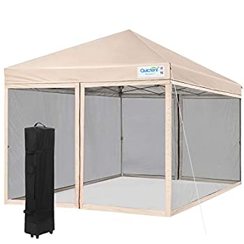 Quictent 8x8 Easy Pop up Canopy with Netting Instant Pop up Gazebo Screen House Tent Waterproof Roller Bag & 4 Sand Bags Included  Tan
