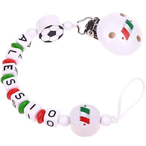 Personalisierte Fußball-Schnullerkette mit Namen - mit Italien-Flaggen & Fußball in Grün, Weiß & Rot