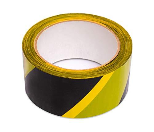 Keephot Cinta adhesiva de seguridad para suelo (48 mm x 66 metros) para marcar zonas peligrosas y aplicar distancia segura, 2 pulgadas de ancho x 72 años de largo, amarillo y negro