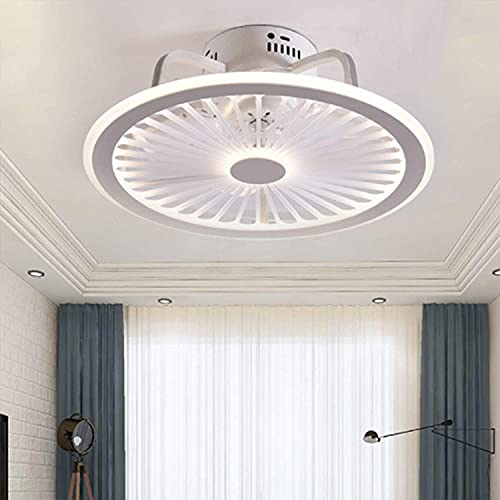 DULG Luz de techo LED silenciosa ultrafina con ventilador, luz de ventilador invisible, candelabro con control remoto, lámpara de ventilador de velocidad del viento ajustable, para sala de estar, dorm