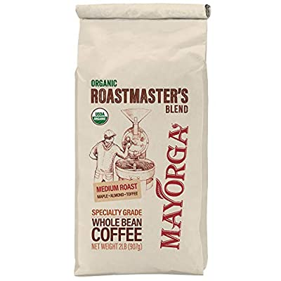 2LB Mayorga Organics Roastmaster's Blend, Medium Roast Whole Arabica Bean Coffee, Specialty-Grade, USDA Organic, Non-GMO Verified, Direct Trade, Kosher