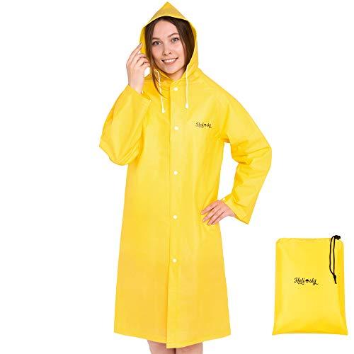 Heliosly – Wasserdichter Regenmantel – Gib dem Regen Keine Chance! – Unisex, Regenjacke/Regenmantel für Damen und Herren, Regenjacke Damen (Gelb, Größe M)