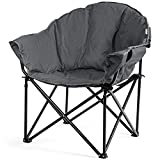 Giantex Portable Camping Chair, Moon Saucer Chair, Outdoor Folding Chair with Soft Padded Seat, Lawn Chair with Cup Holder and Carry Bag (Grey)