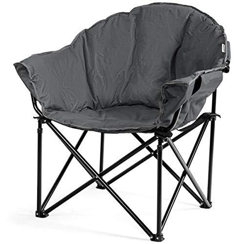 COSTWAY Campingstuhl Gepolsterter Moon Chair, Faltstuhl Rund mit Becherhalter, Klappstuhl Mondstuhl für Camping Angeln Draußen 82x62x90cm (Grau)