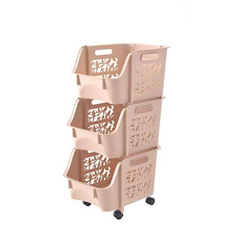 3 niveaux Slide Out Cuisine Trolley Rack Rangement Organisateur Déplacement Armoires Murales Tour Titulaire Salle De Bains Étagère avec Roues (Couleur : A)