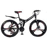 LYBOHO High Carbon Steel 26 Inch Folding Mountain Bike, Mechanical Disc Brakes, Shimanos 21 Speed Gears Bicycle Full Suspension MTB Bikes for Men/Women
