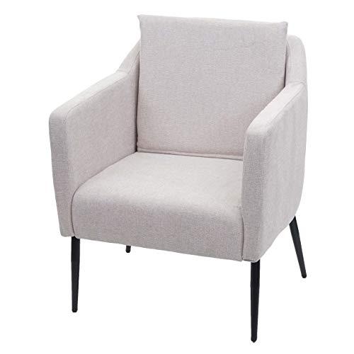 Mendler Lounge-Sessel HWC-H93a, Sessel Cocktailsessel Relaxsessel - Stoff/Textil Creme-beige