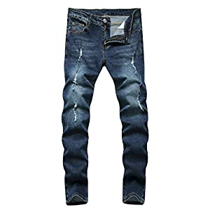 Men's Ripped Slim Straight Fit Biker Skinny Fit Denim Jeans with Zipp...