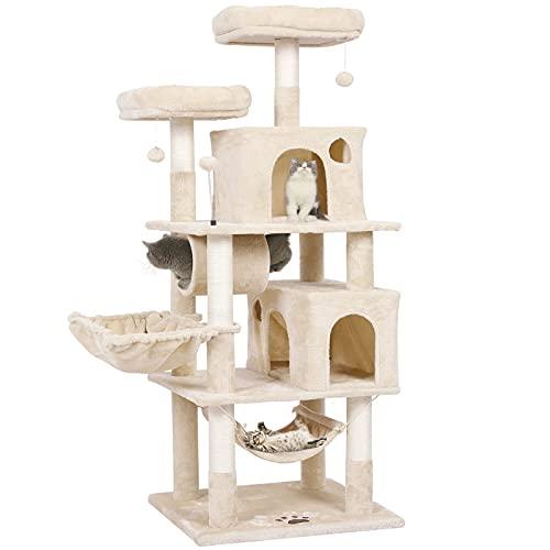 MSmask Kratzbaum groß, 164cm Katzenbaum für Gross Katzen, große Bodenplatte, kratzbaum Grosse Katzen stabil mit Sisal-Kratzstangen Höhlen, Hängematte, Plüschball (Beige#1)