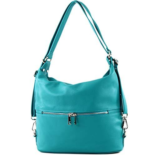 modamoda de - T189 - ital. Damen Rucksack Tasche 2in1 aus Leder, Farbe:Türkis_1