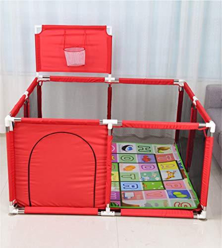 LY-JFSZ Parc pour Bébé, Parc pour Enfants Piscine Intérieure pour Enfants Aire De Jeux Intérieure Anti-Chute pour Bébé Incluse Tapis De Jeu Red